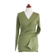 Bambusový zavinovací sveter na nosenie detí Angel wings olivový