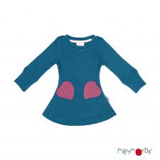 Merino šaty so srdiečkovými vreckami veľ. 5 - 7/7,5 rokov (rôzne farby)