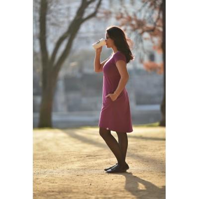 Šaty na dojčenie Áčkové s krátkym rukávom fuchsiové