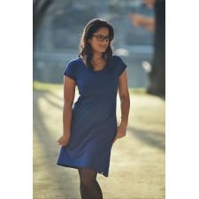 Šaty na dojčenie Áčkové s krátkym rukávom kobaltovo modré