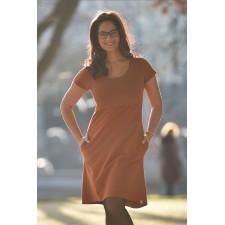 Šaty na dojčenie Áčkové s krátkym rukávom tehlovo oranžové