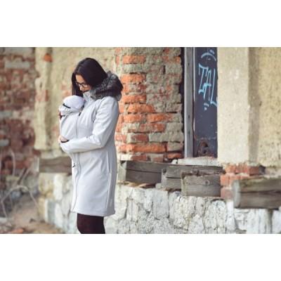 Softshellový kabát s kožušinkou svetlo šedý