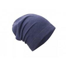 Teplákovinová čiapka jeans melír UNUO