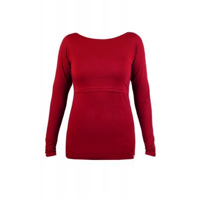 Tričko na dojčenie s dlhým rukávom Angel wings červené